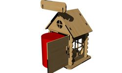 New year's Houses Wooden Free Laser Cut Templates Free CDR