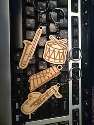 Laser Cut Engraved Musical Instrument Keychains Free CDR