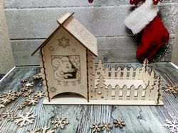 Laser Cut New Year Christmas Tea House Free CDR