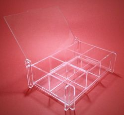 Laser Cut Storage Box With Removable Partitions Made Of Clear Acrylic Free CDR