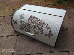 Laser Cut Roll Top Bread Box Wooden Bread Box With Sliding Door 4mm Free CDR