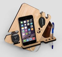 Laser Cut Wood Phone Docking Station With Key Holder Wallet Stand Watch Organizer Free CDR