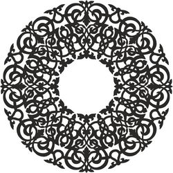 Round Abstract Floral Pattern Free CDR