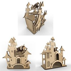 Tea House – Castle # 2 Vector Layout For Laser Cutting Free CDR