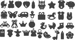 Set Black Silhouettes of Children toys Free CDR