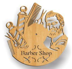 Barber Shop Wall Clock Download For Laser Cut Free DXF File