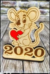 Laser Cut Happy New Year Mouse With Heart Free DXF File