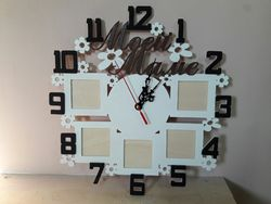 Laser Cut Personalized Wall Clock With Photo Frames Free DXF File