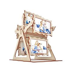 Laser Cut Photo Holder Ferris Wheel Picture Frame Free DXF File